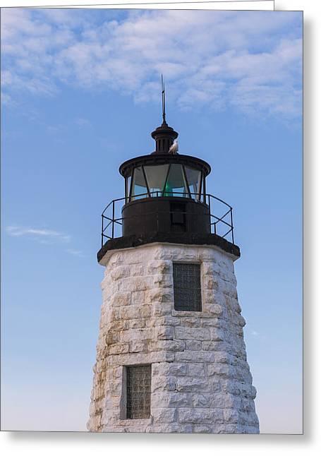 New England Ocean Greeting Cards - Newport Harbor lighthouse aka Goat Island light house. Greeting Card by Marianne Campolongo