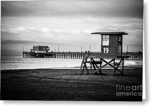 Shack Greeting Cards - Newport Pier and Lifeguard Tower in Black and White Greeting Card by Paul Velgos