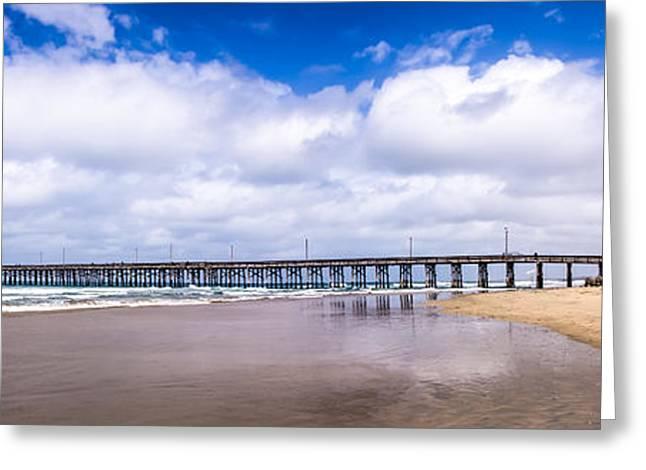 Newport Pier Panorama In Newport Beach California Greeting Card by Paul Velgos