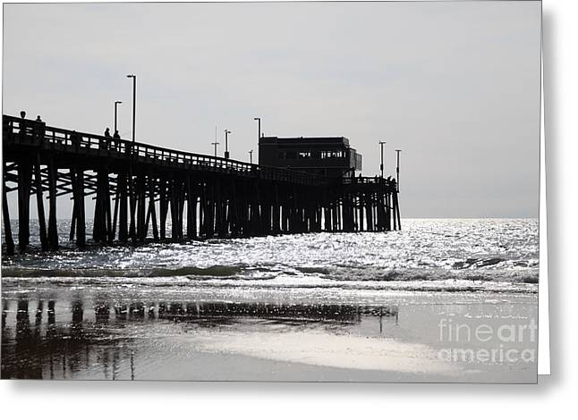 Southern California Beach Greeting Cards - Newport Pier Greeting Card by Paul Velgos