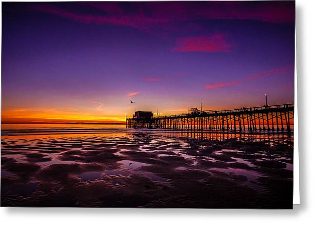 California Ocean Photography Greeting Cards - Newport Pier Sunset Greeting Card by Pamela Newcomb