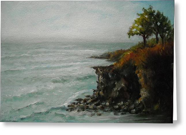 Salve Greeting Cards - NEWPORT RHODE ISLAND  Cliff Walk Rocks and Surf Newport Rhode Island Greeting Card by Nancy Custin