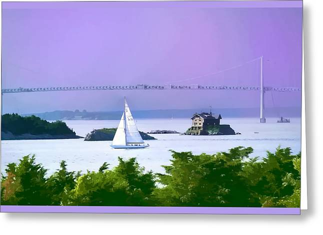 Ocean Scenes Greeting Cards - Newport water color effect Greeting Card by Tom Prendergast