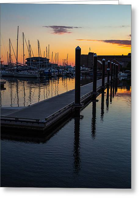 Sailboats In Harbor Greeting Cards - Newports Dusk  Greeting Card by Karol  Livote