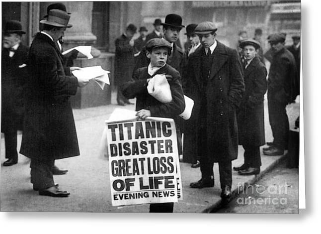 Celebrate Photographs Greeting Cards - Newsboy Ned Parfett announcing the sinking of the Titanic Greeting Card by English School