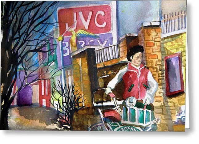 Sidewalk Drawings Greeting Cards - Newspaper Boy Greeting Card by Mindy Newman