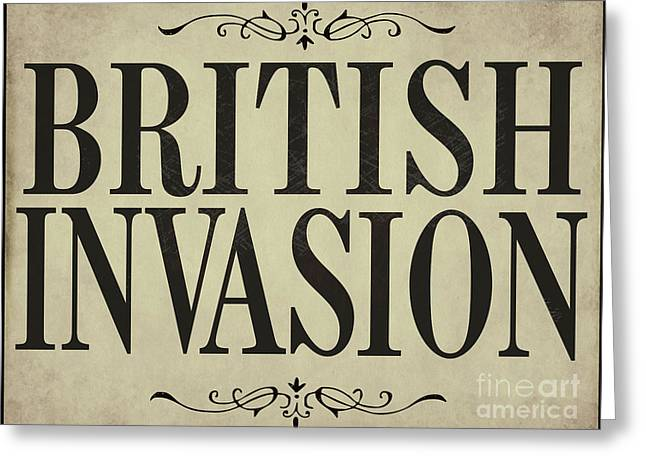 Fab Greeting Cards - Newspaper Headline British Invasion Greeting Card by Mindy Sommers