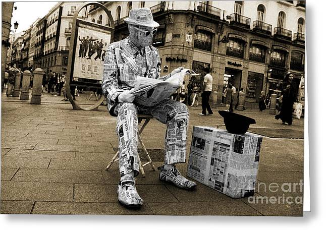 Street Artist Greeting Cards - Newspaper Man Greeting Card by Rob Hawkins