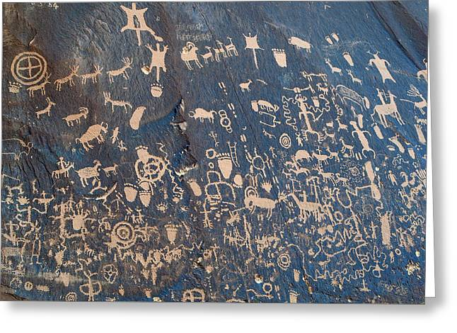 Newspaper Rock Sandstone Greeting Cards - Newspaper Wall Greeting Card by Roger Reeves  and Terrie Heslop