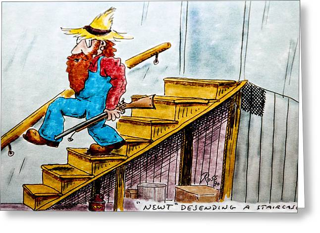 Staircase Drawings Greeting Cards - Newt Descending a Staircase Greeting Card by Ross Powell