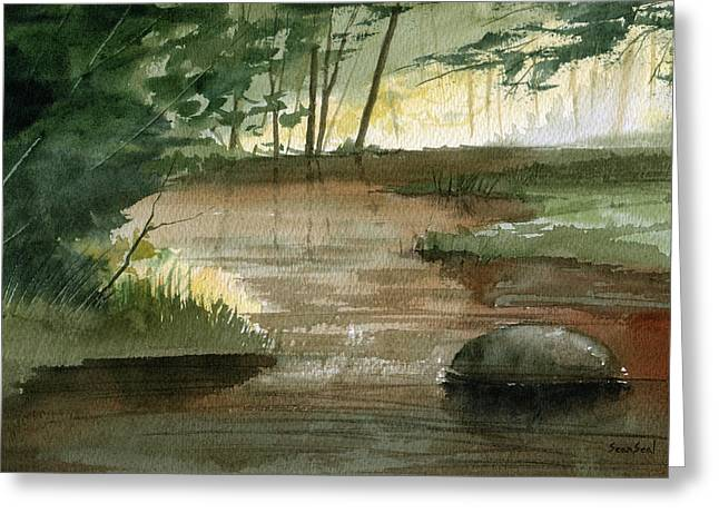 Trout Stream Landscape Greeting Cards - Newton Creek 1 Greeting Card by Sean Seal