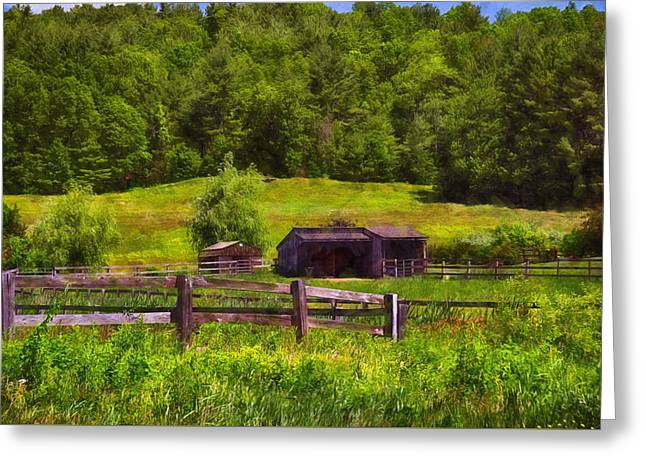 Barn Door Greeting Cards - Newton Farm Greeting Card by Tricia Marchlik