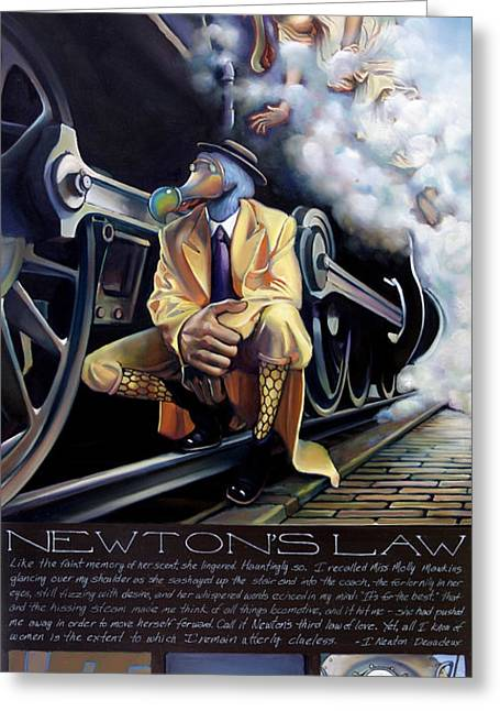 Railway Locomotive Greeting Cards - Newtons Law Greeting Card by Patrick Anthony Pierson