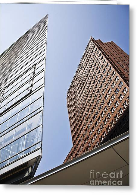 Glass Facade Greeting Cards - Next-door neighbors Greeting Card by Heiko Koehrer-Wagner