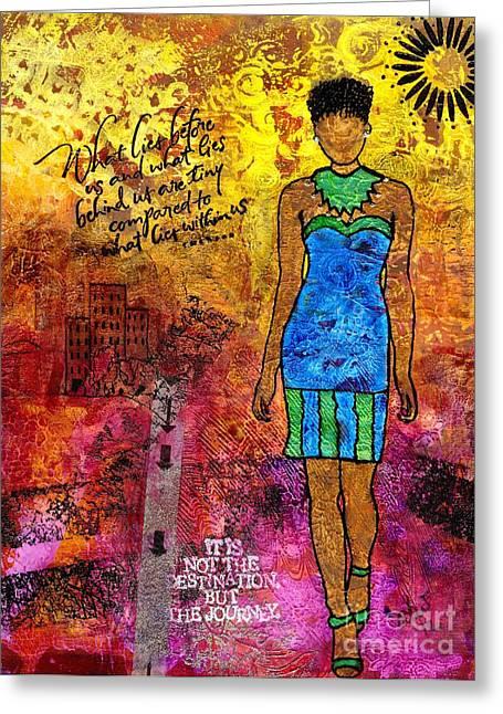Survivor Art Greeting Cards - Next Steps Greeting Card by Angela L Walker