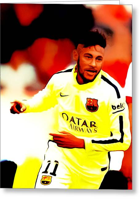 Recently Sold -  - Award Greeting Cards - Neymar 02c Greeting Card by Brian Reaves