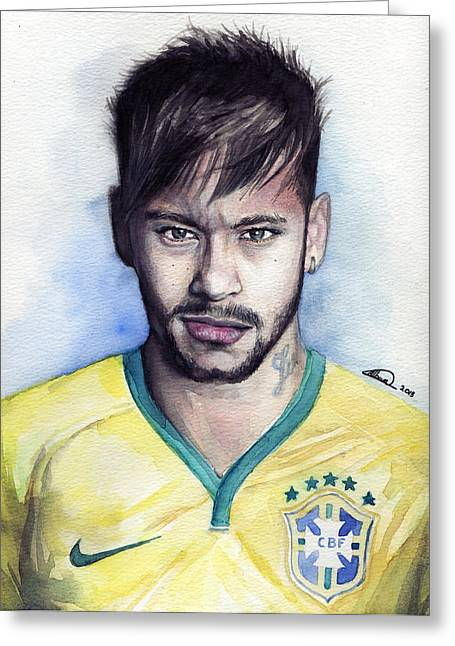 Nike Greeting Cards - Neymar Greeting Card by Alban Dizdari