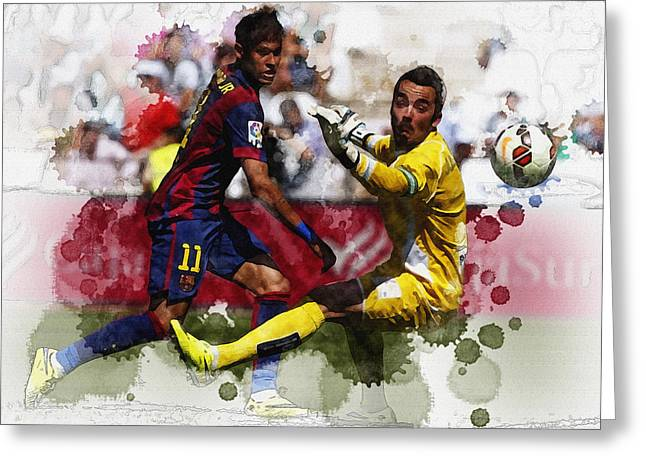Football Collectibles Greeting Cards - Neymar kicks the ball during their Spanish first division soccer Greeting Card by Don Kuing
