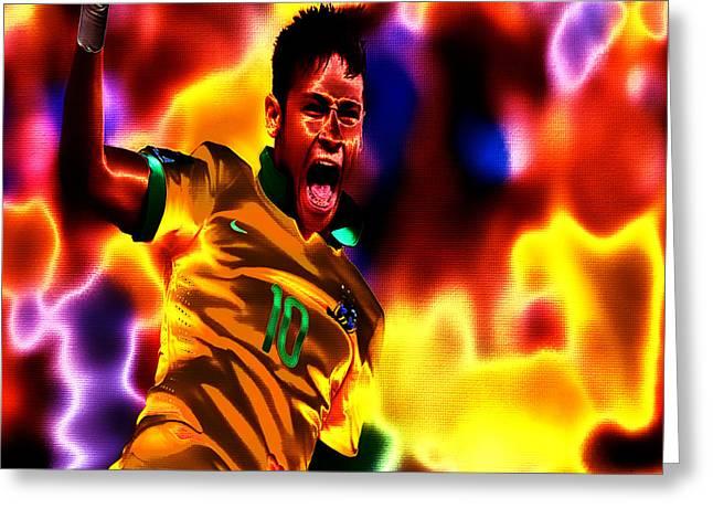 Neymar Greeting Cards - Neymar on Fire Greeting Card by Brian Reaves