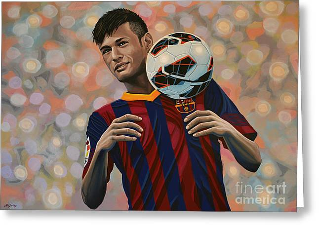Finals Greeting Cards - Neymar Greeting Card by Paul Meijering