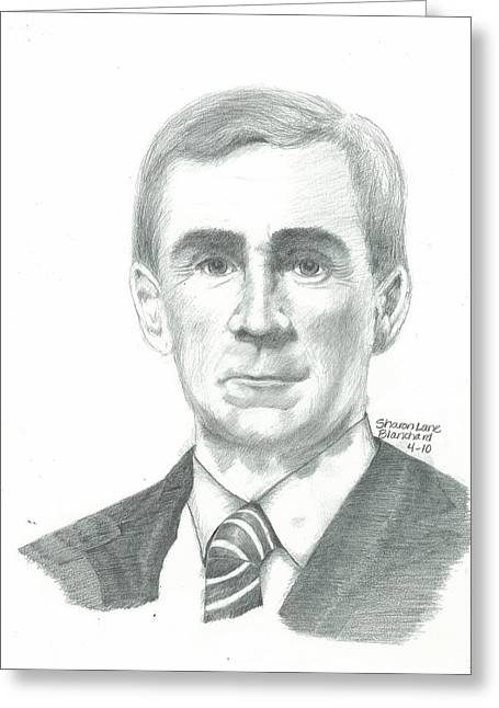 Broncos Drawings Greeting Cards - NFL Coach Mike Shananan Greeting Card by Sharon Blanchard
