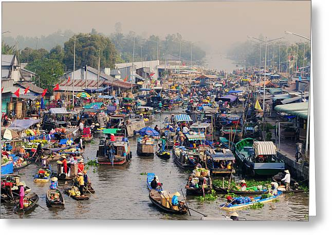 Traveling Salesman Greeting Cards - Nga Nam floating market in sunrise Greeting Card by Phuong Duy Nguyen