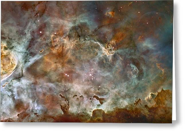 Glowing Pyrography Greeting Cards - NGC 3372 taken by Hubble Space Telescope Greeting Card by Artistic Panda
