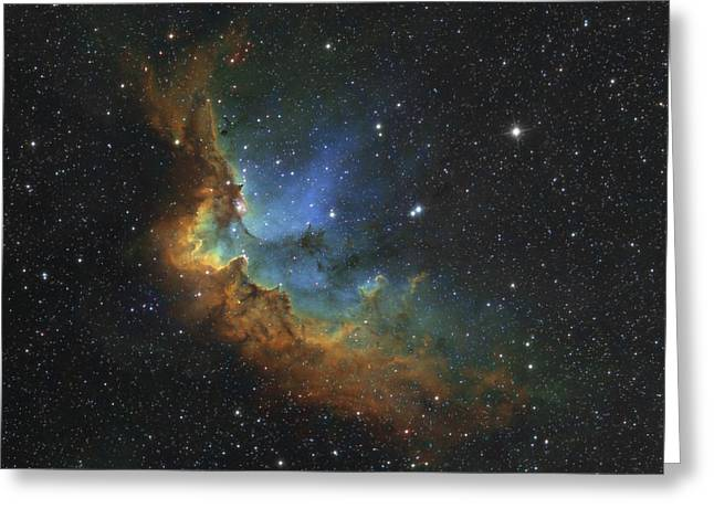Interstellar Clouds Greeting Cards - Ngc 7380 In Hubble-palette Colors Greeting Card by Rolf Geissinger