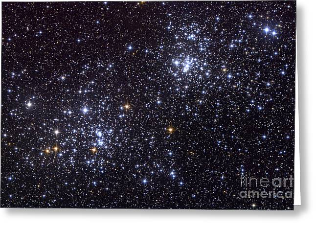 Double Cluster Greeting Cards - Ngc 884, An Open Cluster Greeting Card by Roth Ritter