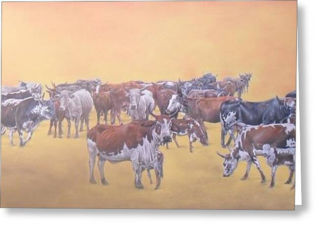 Cattle Pastels Greeting Cards - Nguni Cattle At Sunset Greeting Card by Boarding  Dzinotizei