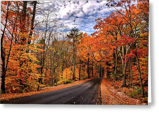New Hampshire Leaves Greeting Cards - NH Autumn Road 4 Greeting Card by Edward Myers
