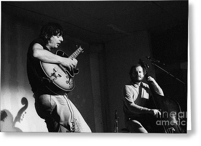 Best Sellers -  - Catherine White Greeting Cards - NHOP and Philip Catherine on stage Greeting Card by Philippe Taka
