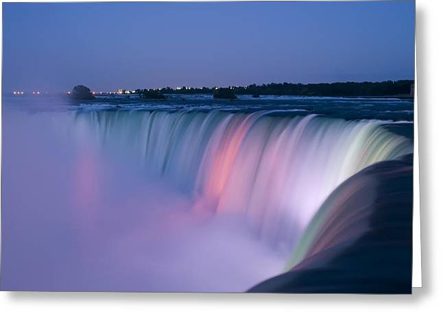 Dark Water Greeting Cards - Niagara Falls at Dusk Greeting Card by Adam Romanowicz