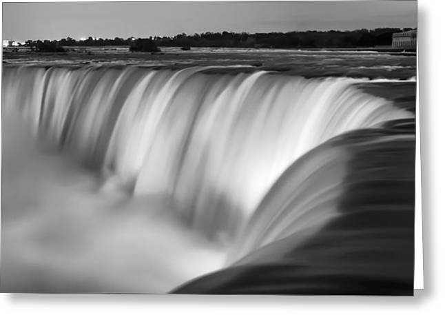Illuminate Greeting Cards - Niagara Falls at Dusk Black and White Greeting Card by Adam Romanowicz