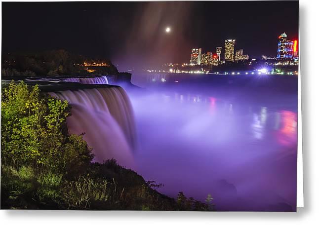 World Wonder Greeting Cards - Niagara Falls at Night Greeting Card by Vishwanath Bhat