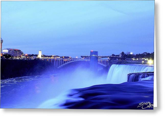 Snowy Night Greeting Cards - Niagara Falls Greeting Card by Beth Carpenter