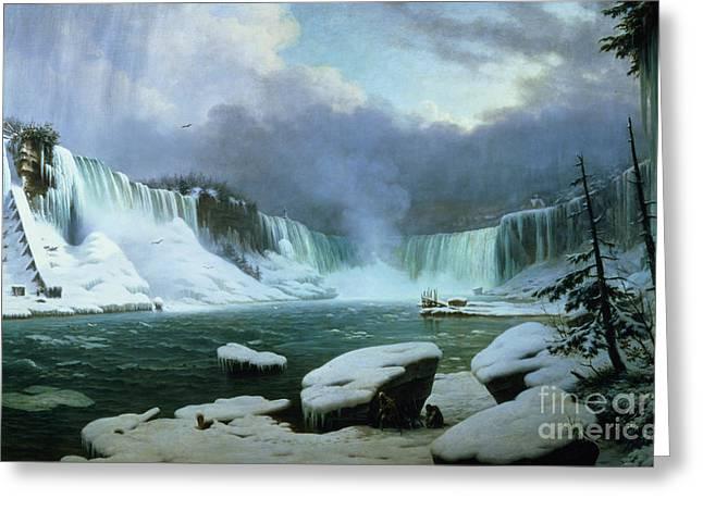 Niagara Falls Greeting Card by Hippolyte Victor Valentin Sebron
