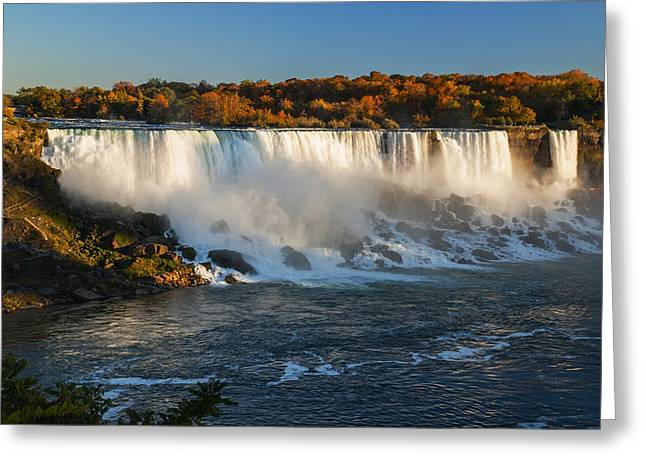Nature Body Greeting Cards - Niagara Falls in Autumn evening Greeting Card by Vishwanath Bhat