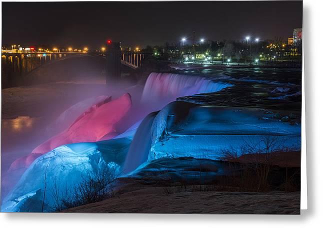 Western Canada Landscape Art Greeting Cards - Niagara Falls light show Greeting Card by Mark Papke
