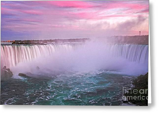 Exposure Greeting Cards - Niagara Falls Sunset Clouds Greeting Card by Charline Xia