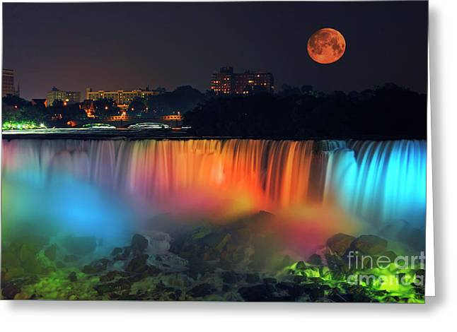 Moonrise Greeting Cards - Niagara Falls with Rising Supermoon Greeting Card by Charline Xia