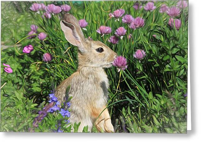 Nibbling On Chives Greeting Card by Donna Kennedy