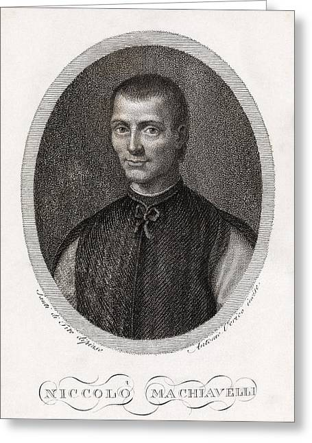 European work Photographs Greeting Cards - Niccolo Machiavelli, Italian Philosopher Greeting Card by Middle Temple Library