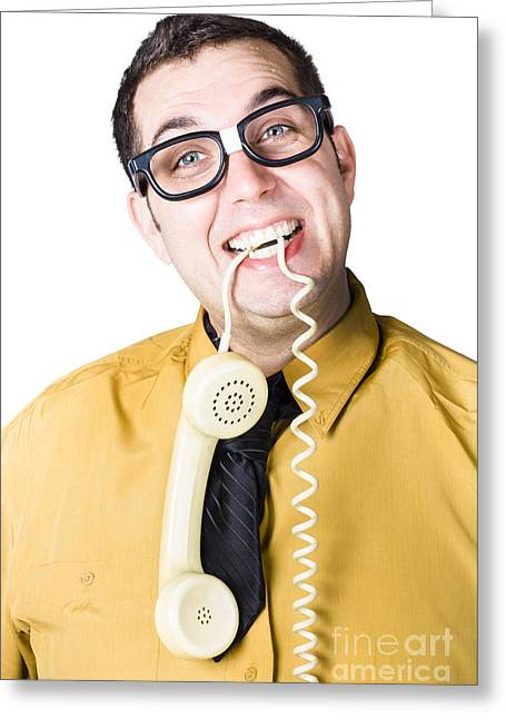 Nice Businessman Answering Telephone Call Greeting Card by Jorgo Photography - Wall Art Gallery
