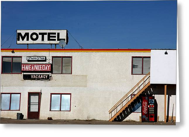 Nice Day Greeting Cards - Nice Day Motel Greeting Card by Kreddible Trout