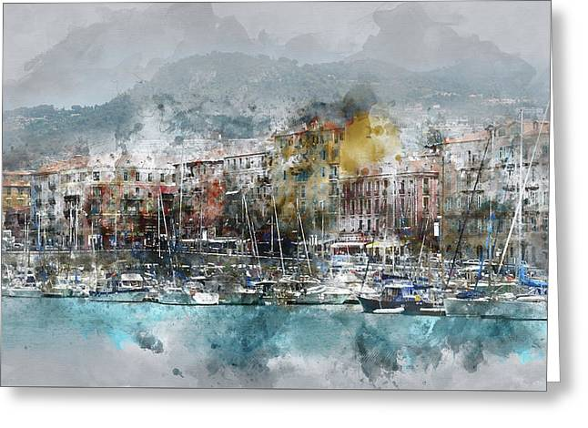 Nice France Digital Watercolor On Photograph Greeting Card by Brandon Bourdages