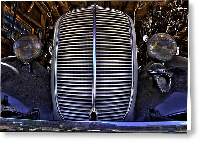 Rusted Cars Greeting Cards - Nice Grill 1937 Ford Pickup Truck Greeting Card by Jan and Burt Williams