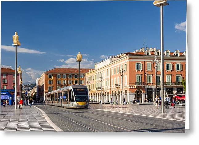 Azur Greeting Cards - Nice tramway at Place Massena Greeting Card by Elena Elisseeva