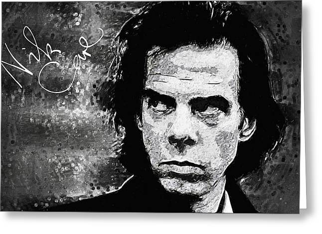 80s Greeting Cards - Nick Cave Greeting Card by Taylan Soyturk
