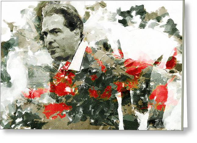 Bear Bryant Paintings Greeting Cards - Nick Saban A Simple Portrait Greeting Card by John Farr